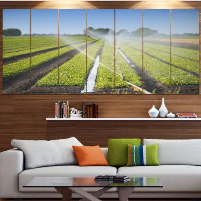Designart Beautiful View Of Crops Watering Landscape Canvas Art Print - 4 Panels