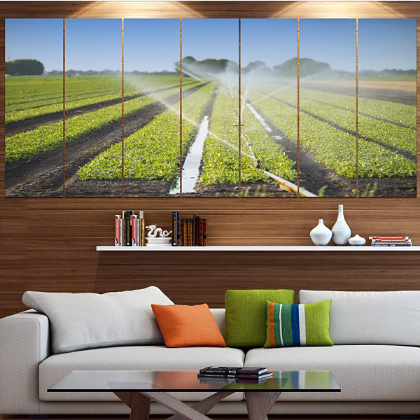 Designart Beautiful View Of Crops Watering Landscape Canvas Art Print - 6 Panels