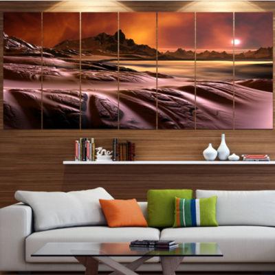3D Rendered Alien Planet Landscape Canvas Art Print - 4 Panels
