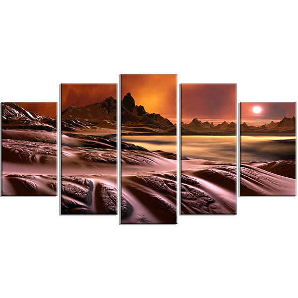 Design Art 3D Rendered Alien Planet Landscape Large Canvas Art Print - 5 Panels