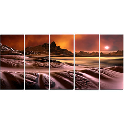Designart 3D Rendered Alien Planet Landscape Canvas Art Print - 5 Panels
