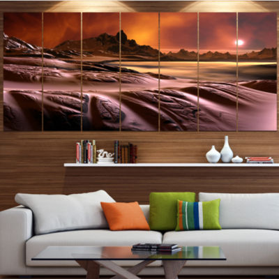 Design Art 3D Rendered Alien Planet Landscape Canvas Art Print - 7 Panels