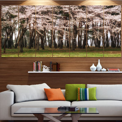 Designart Cherry Blossoms In Pine Tree LandscapeLarge Canvas Art Print - 5 Panels
