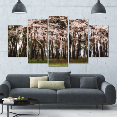 Cherry Blossoms In Pine Tree Landscape Large Canvas Art Print - 5 Panels
