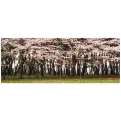 Cherry Blossoms In Pine Tree Landscape Canvas ArtPrint - 6 Panels