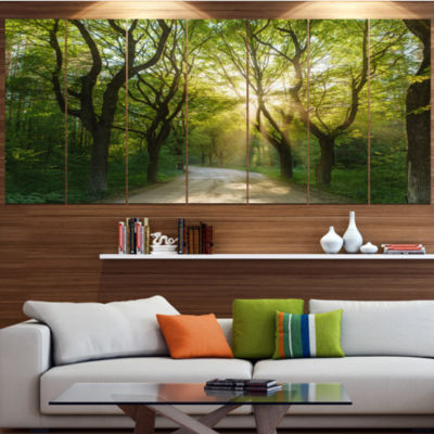 Designart Evening In Green Forest Landscape CanvasArt Print- 5 Panels