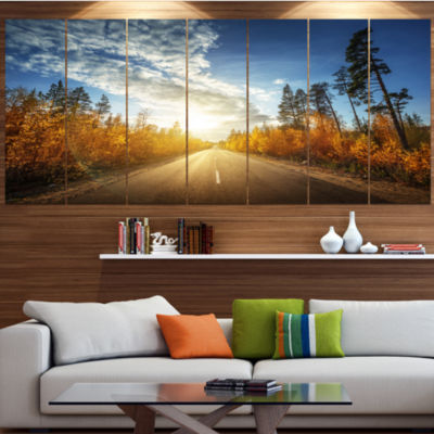 Designart Road In Fall Forest Panorama LandscapeCanvas Art Print - 4 Panels