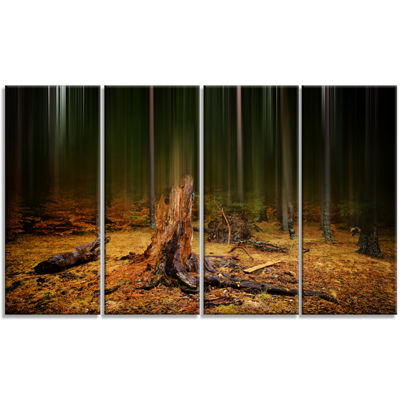 Designart Dark Fall Forest On Foggy Morning Landscape Canvas Art Print - 4 Panels