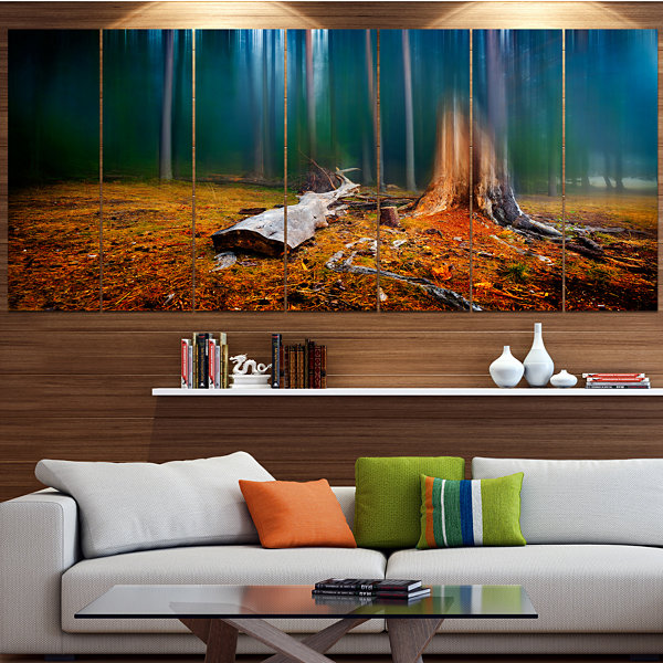 Design Art Blue Forest On Foggy Morning LandscapeCanvas Art Print - 4 Panels