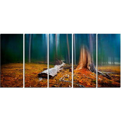 Designart Blue Forest On Foggy Morning LandscapeCanvas Art Print - 5 Panels