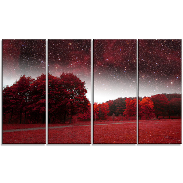 Designart Mystical Red Spring Night Landscape Canvas Art Print - 4 Panels