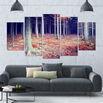 Designart Beautiful Fall Forest Panorama LandscapeLarge Canvas Art Print - 5 Panels