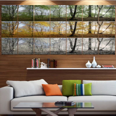 Designart Three Seasons Forest Panorama LandscapeCanvas Art Print - 5 Panels