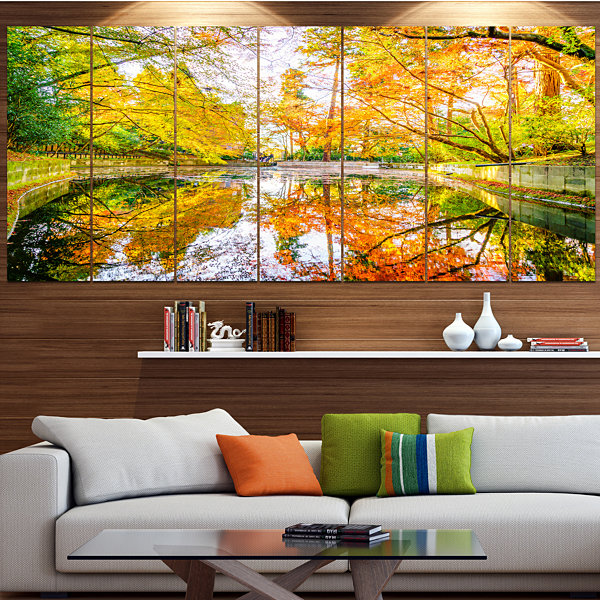 Designart Bright Fall Forest With River LandscapeCanvas Art Print - 6 Panels