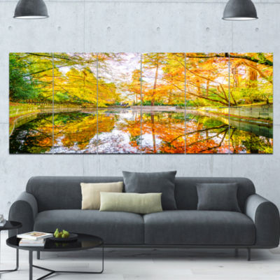 Bright Fall Forest With River Landscape Canvas ArtPrint - 6 Panels