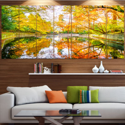 Design Art Bright Fall Forest With River LandscapeCanvas Art Print - 7 Panels