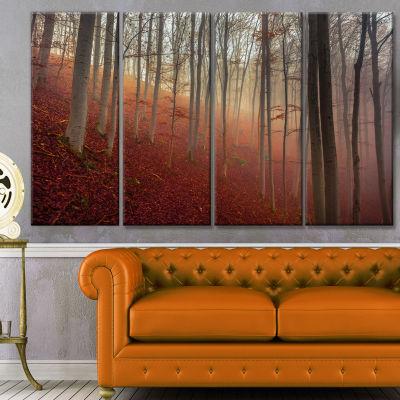 Designart Foggy Day In Enchanted Forest LandscapeCanvas Art Print - 4 Panels