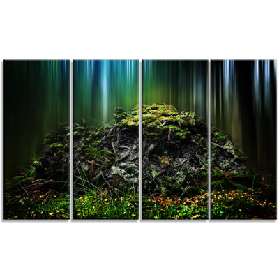 Designart Dark Forest On Snowy Morning LandscapeCanvas Art Print - 4 Panels