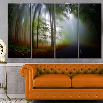 Designart Fall Landscape In The Forest LandscapeCanvas Art Print - 4 Panels