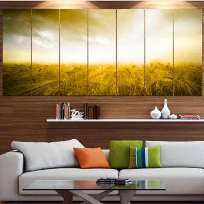 Yellow Meadow Under Bright Sun Landscape Canvas Art Print - 7 Panels