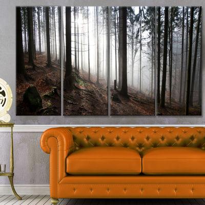 Designart Misty Forest Morning Panorama LandscapeCanvas Art Print - 4 Panels