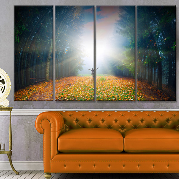 Design Art Men And Bright Sunlight Panorama Landscape Canvas Art Print - 4 Panels