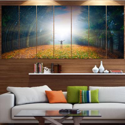 Designart Men And Bright Sunlight Panorama Landscape Large Canvas Art Print - 5 Panels