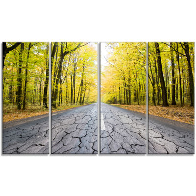 Cracked Road In The Forest Landscape Canvas Art Print - 4 Panels