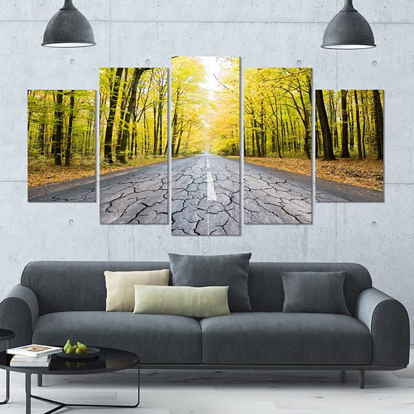 Designart Cracked Road In The Forest Landscape Large Canvas Art Print - 5 Panels