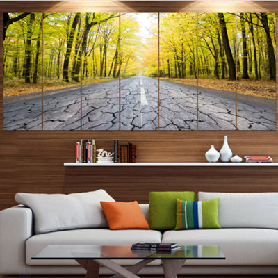 Designart Cracked Road In The Forest Landscape Canvas Art Print - 5 Panels