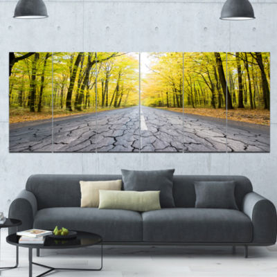 Cracked Road In The Forest Landscape Canvas Art Print - 6 Panels