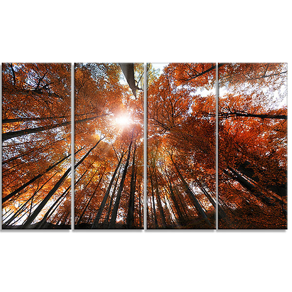 Design Art Picturesque Fall Forest Panorama Landscape Canvas Art Print - 4 Panels