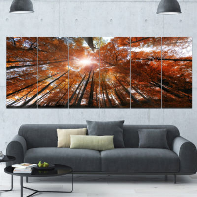 Picturesque Fall Forest Panorama Landscape CanvasArt Print - 6 Panels