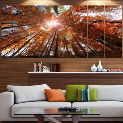 Design Art Picturesque Fall Forest Panorama Landscape Canvas Art Print - 7 Panels