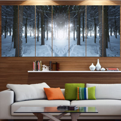 Design Art Winter Forest With Dark Woods LandscapeCanvas Art Print - 4 Panels