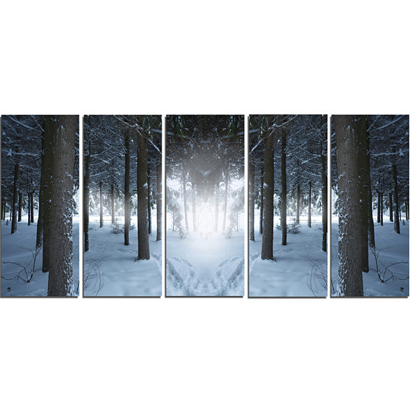 Designart Winter Forest With Dark Woods LandscapeCanvas Art Print - 5 Panels