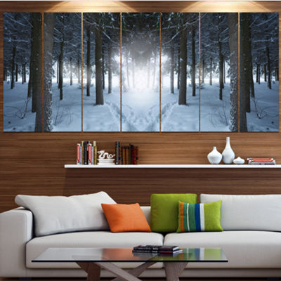 Designart Winter Forest With Dark Woods LandscapeCanvas Art Print - 7 Panels