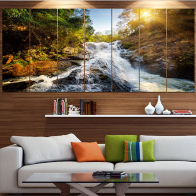 Designart Waterfall Through The Forest LandscapeCanvas Art Print - 4 Panels