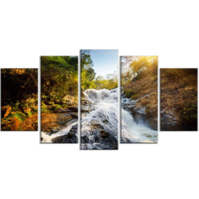 Waterfall Through The Forest Landscape Large Canvas Art Print - 5 Panels