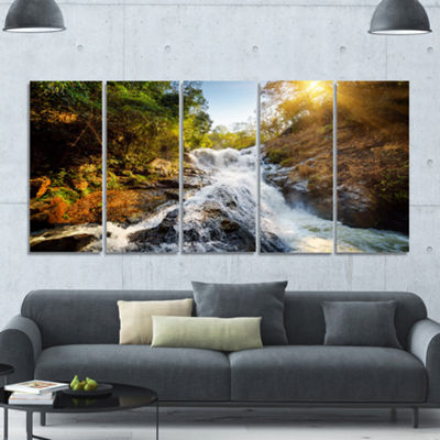 Designart Waterfall Through The Forest LandscapeCanvas Art Print - 5 Panels