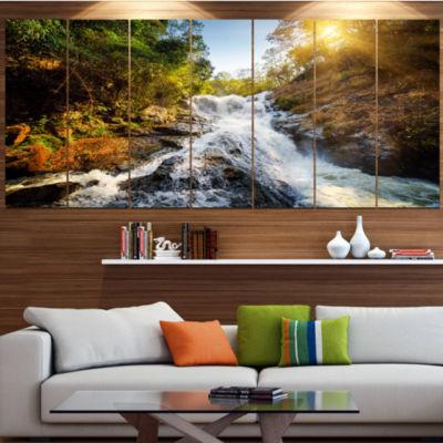 Designart Waterfall Through The Forest LandscapeCanvas Art Print - 7 Panels