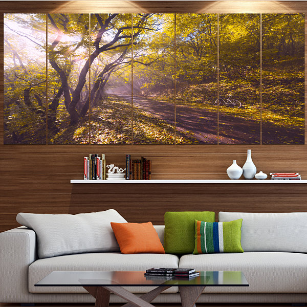 Design Art Bicycle Ride In Fall Forest Landscape Canvas Art Print - 5 Panels