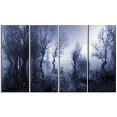 Designart Creepy Landscape In Sepia Tones Landscape Canvas Art Print - 4 Panels