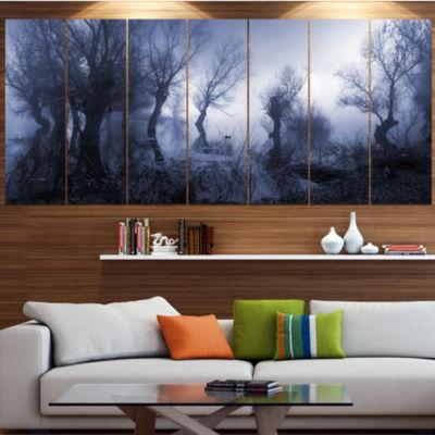 Designart Creepy Landscape In Sepia Tones Landscape Canvas Art Print - 7 Panels