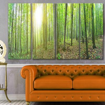 Designart Thick Green Forest Panorama Landscape Canvas Art Print - 4 Panels