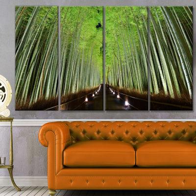 Designart Beautiful Bamboo Forest Panorama Landscape Canvas Art Print - 4 Panels