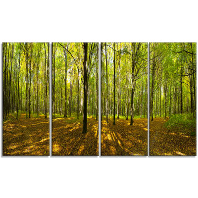 Designart Green Autumn Forest Panorama LandscapeCanvas Art Print - 4 Panels