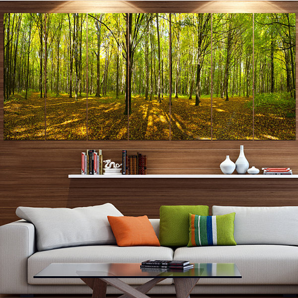 Designart Green Autumn Forest Panorama LandscapeLarge Canvas Art Print - 5 Panels