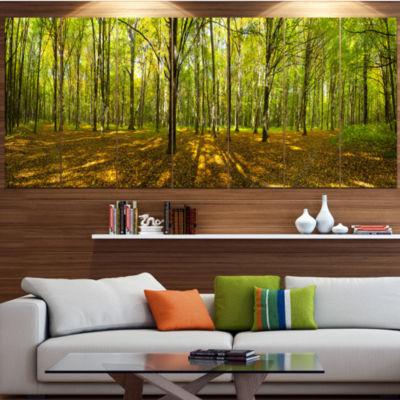 Designart Green Autumn Forest Panorama LandscapeCanvas Art Print - 7 Panels