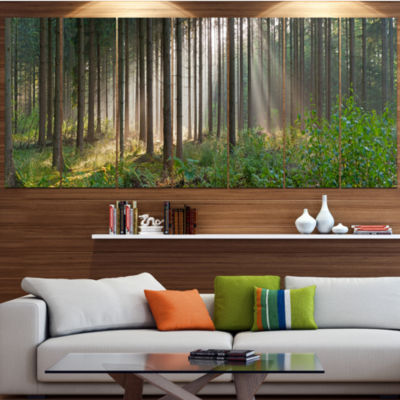 Designart Green Forest In Mist Panorama LandscapeLarge Canvas Art Print - 5 Panels
